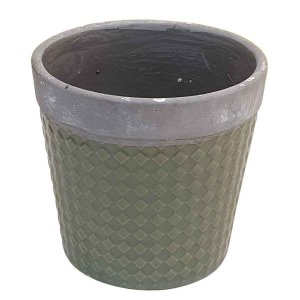 Vaso de Cerâmica Losango Verde 16cm