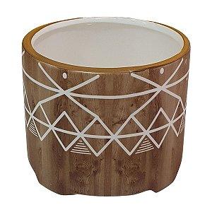 Vaso de Cerâmica Pintado Marrom Losangos 9cm