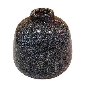 Vaso de Cerâmica Arredondado Azul Marinho 13cm