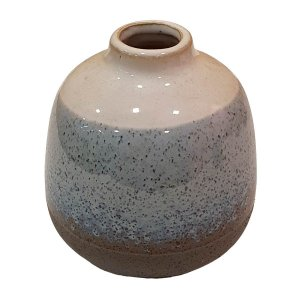 Vaso de Cerâmica Arredondado Azul e Cinza 13cm
