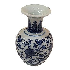 Vaso de Cerâmica Arredondado Azul e Branco 13cm