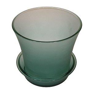 Vaso de Vidro com Prato Verde 14cm