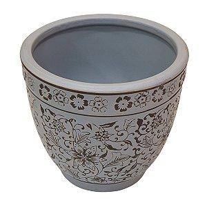 Vaso de Cerâmica Floral Azul 16cm