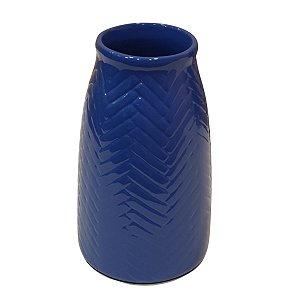 Vaso de Cerâmica Comprido Azul 22cm