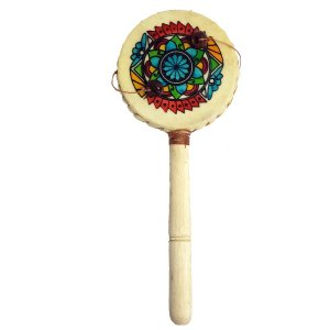 Tamboran Cru com Flor de Madeira e Couro Sintético 20cm