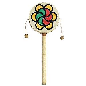 Tamboran Cru com Mandala Flor de Madeira e Couro Sintético 30cm