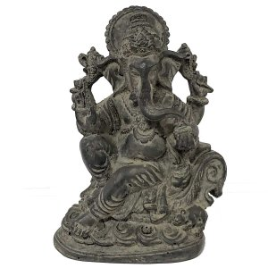 Estátua de Ganesha no Trono de Resina Cinza Chumbo 14cm