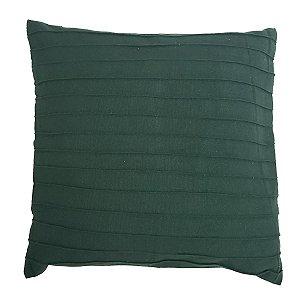 Capa de Almofada de Algodão Lisa Drapeada Verde 45cmx45cm