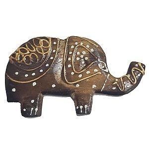 Imã Pintado de Madeira Balsa Elefante com Tromba pra Cima