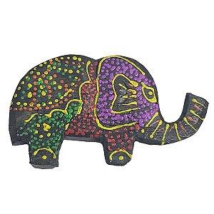 Imã Pintura Dots de Madeira Balsa Elefante Tromba pra Cima