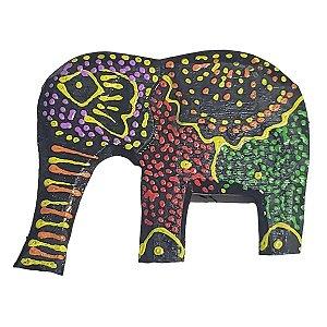 Imã Pintura Dots de Madeira Balsa Elefante Tromba pra Baixo