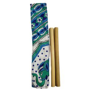 Kit 2 Canudos Bambu e Capinha Protetora 100% Algodão 15cm