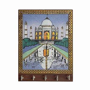 Porta Chaves Madeira Pintado 5 ganchos Taj Mahal 18cm
