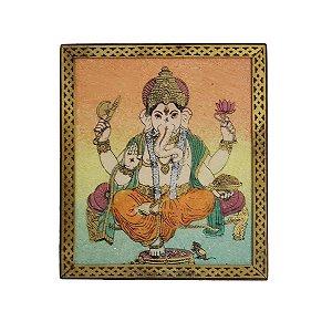 Caixa Decorativa Madeira Pintada Ganesha 13cm