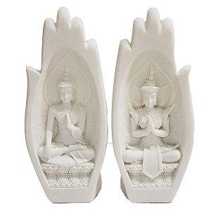 Mãos Decorativas Oração c/ Buda Sidarta Mudra Dar e Receber de Resina Plástica Branca