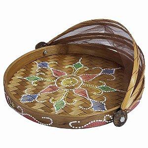 Cesto de Pão de Bambu Pintado Redondo Caramelo c/ Vermelho, Verde e Azul 24.5cm