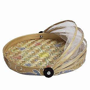 Cesto de Pão de Bambu Pintado Redondo Cru c/ Flor Verde, Vermelha e Azul 35cm