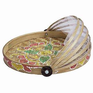 Cesto de Pão de Bambu Pintado Redondo Cru c/ Flor Verde e Vermelha 35cm