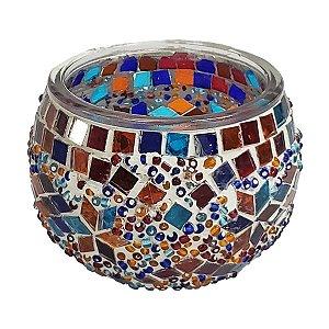 Porta Vela de Vidro Redondo Mosaico Turco 10cm
