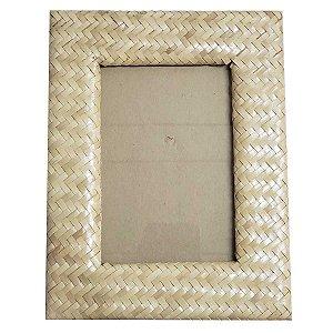 Porta Retrato Trançado Palha Natural Bege - 10x15cm