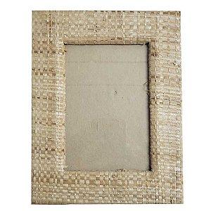 Porta Retrato Palha Natural Bege - 10x15cm