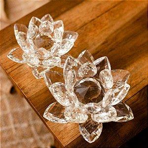 Flor de Lótus Decorativa Cristal Unitária Grande 6.5cm