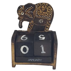 Calendário Blocos de Madeira Balsa Elefante 15cm