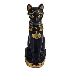 Estátua Gato Egípcio Deusa Bastet de Resina Preta 25cm
