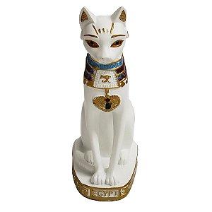 Estátua Gato Egípcio Deusa Bastet de Resina Branca 20cm
