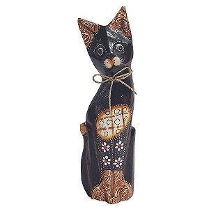 Gato Pintado Madeira Balsa com Flores 25cm