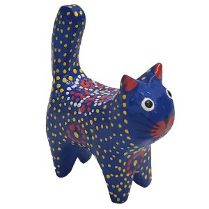 Gato Porta Anel Dots Madeira Balsa azul com flor 12cm