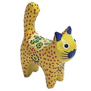 Gato Porta Anel Dots Madeira Balsa amarelo com flor 12cm