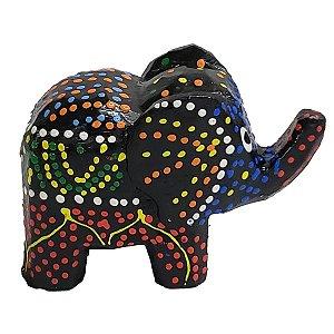 Elefante Madeira Balsa Pintura Dots (Modelo 1) 5cm
