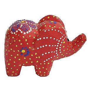 Elefante Madeira Balsa Vermelho 5cm