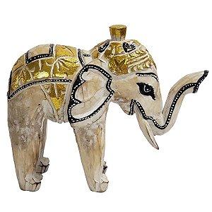 Elefante Madeira Balsa Branco com Preto e Dourado 21cm