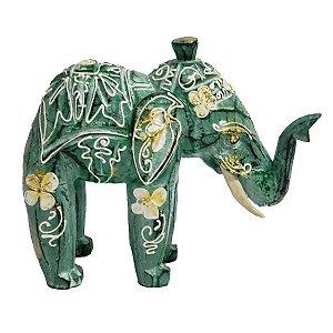 Elefante Madeira Balsa Verde com Flores 15cm