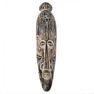 Máscara Canoa Pintura Pátina Susut Preto com Dourado 50cm