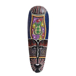 Máscara Pintura Aborígene Dots Tartaruga Madeira Balsa Larga 50cm