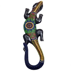 Salamandra Pintura Aborígene Dots Tejakula Madeira Balsa 48cm