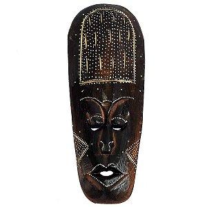 Máscara Entalhada com Pintura Hujan Madeira Balsa Fina 30cm