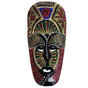 Máscara Pintura Aborígene Dots Singaraja Madeira Balsa Larga 30cm