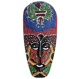 Máscara Pintura Aborígene Dots Abelha Madeira Larga 30cm