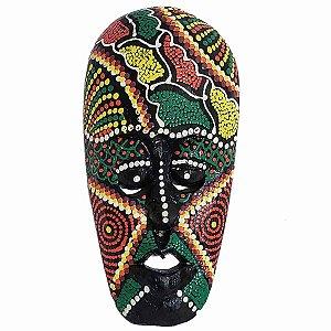 Máscara Pintura Aborígene Dots Bubunan Madeira Larga 20cm