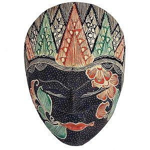 Máscara Batik Madeira Balsa Azul Marinho 22cm