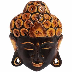 Máscara Cabeça de Buda de Madeira Balsa Marrom com Bege 15cm