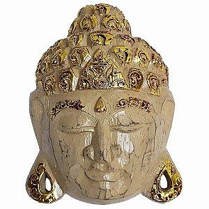 Máscara Cabeça de Buda de Madeira Balsa Bege com Dourado 18cm