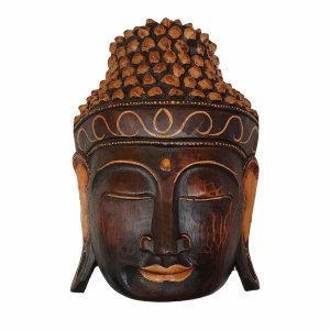 Máscara Cabeça de Buda de Madeira Balsa Marrom com Bege 30cm