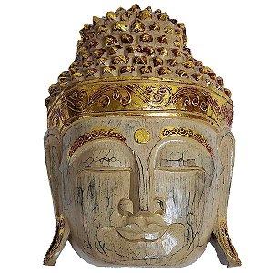 Máscara Cabeça de Buda de Madeira Balsa Bege com Dourado 30cm