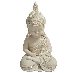 Estátua de Baby Buda de Pó de Mármore Branca Mudra Meditação 26cm