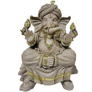 Estátua de Ganesha Sentado de Resina Plástica Areia com Dourado 32cm - 2 peças